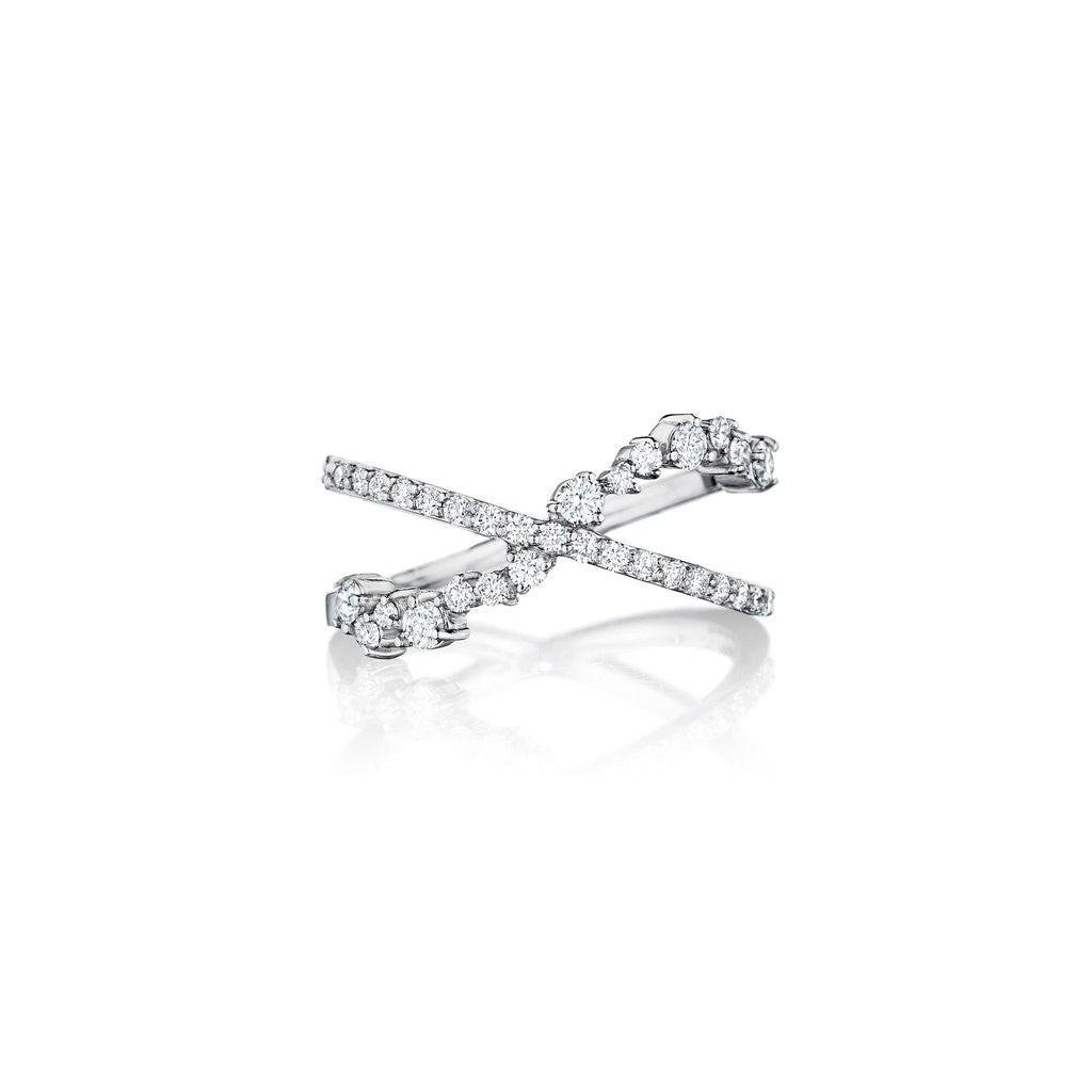 18K White Gold Diamond Crossover Ring