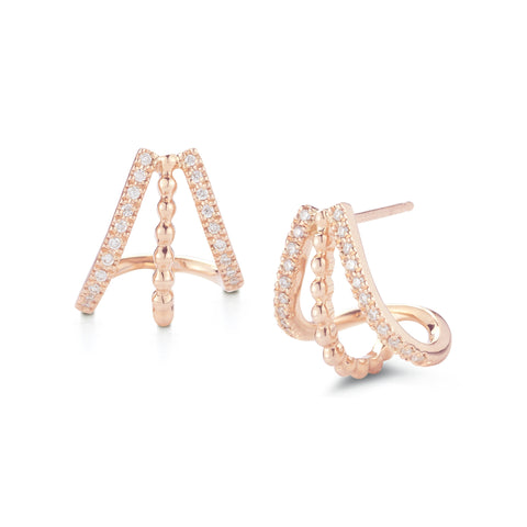 Poppy Rae 14K Rose Gold Diamond Earrings
