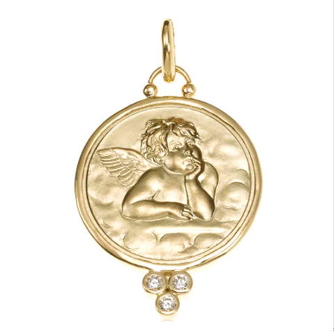18K Yellow Gold Angel Pendant with Diamond Granulation