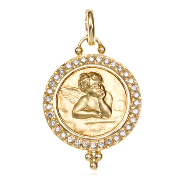 18K Yellow Gold Pave Angel Pendant with Diamond