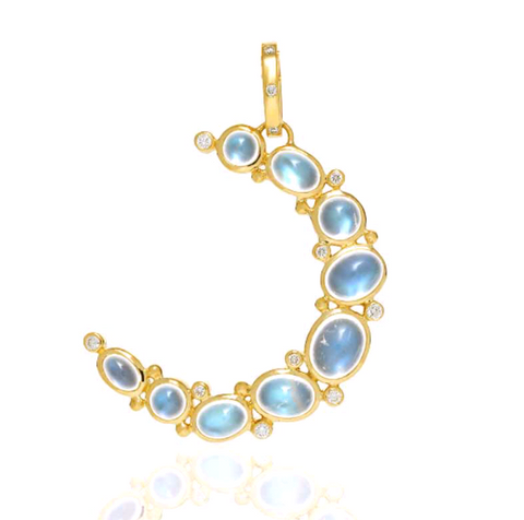 18K Yellow Gold Large Crescent Moon Pendant with Royal Blue Moonstone and Diamond