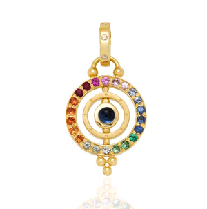 18K Yellow Gold Piccolo Tolomeo Pendant with Mixed Sapphire and Diamond