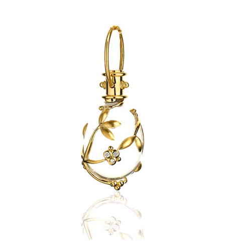 18K Yellow Gold Vine Amulet with Oval Rock Crystal and Diamond