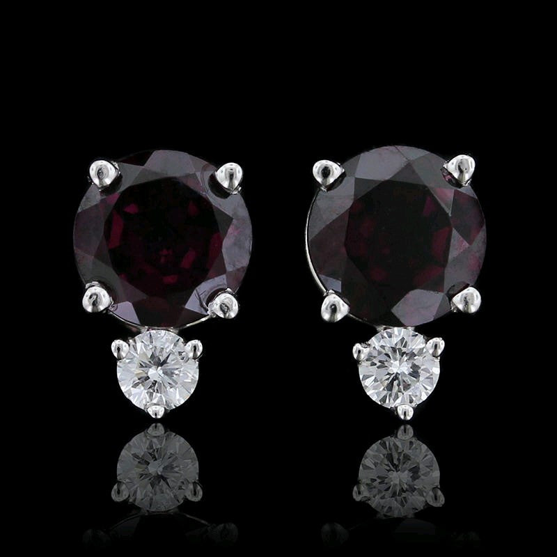 14K White Gold Garnet and Diamond Earrings