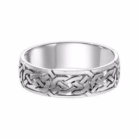14K White Gold Celtic Knot Band