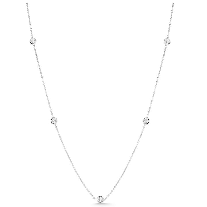 18K White Gold Bezel-Set Diamond Chain Necklace