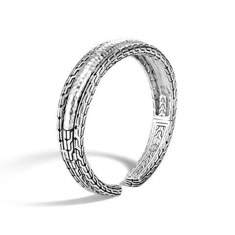 Classic Chain Arch Hammered Silver Small Flex Cuff