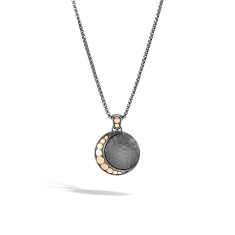 Dot Moon Phase Hammered 18K Gold & Silver Pendant Black Rhodium Box Chain Necklace