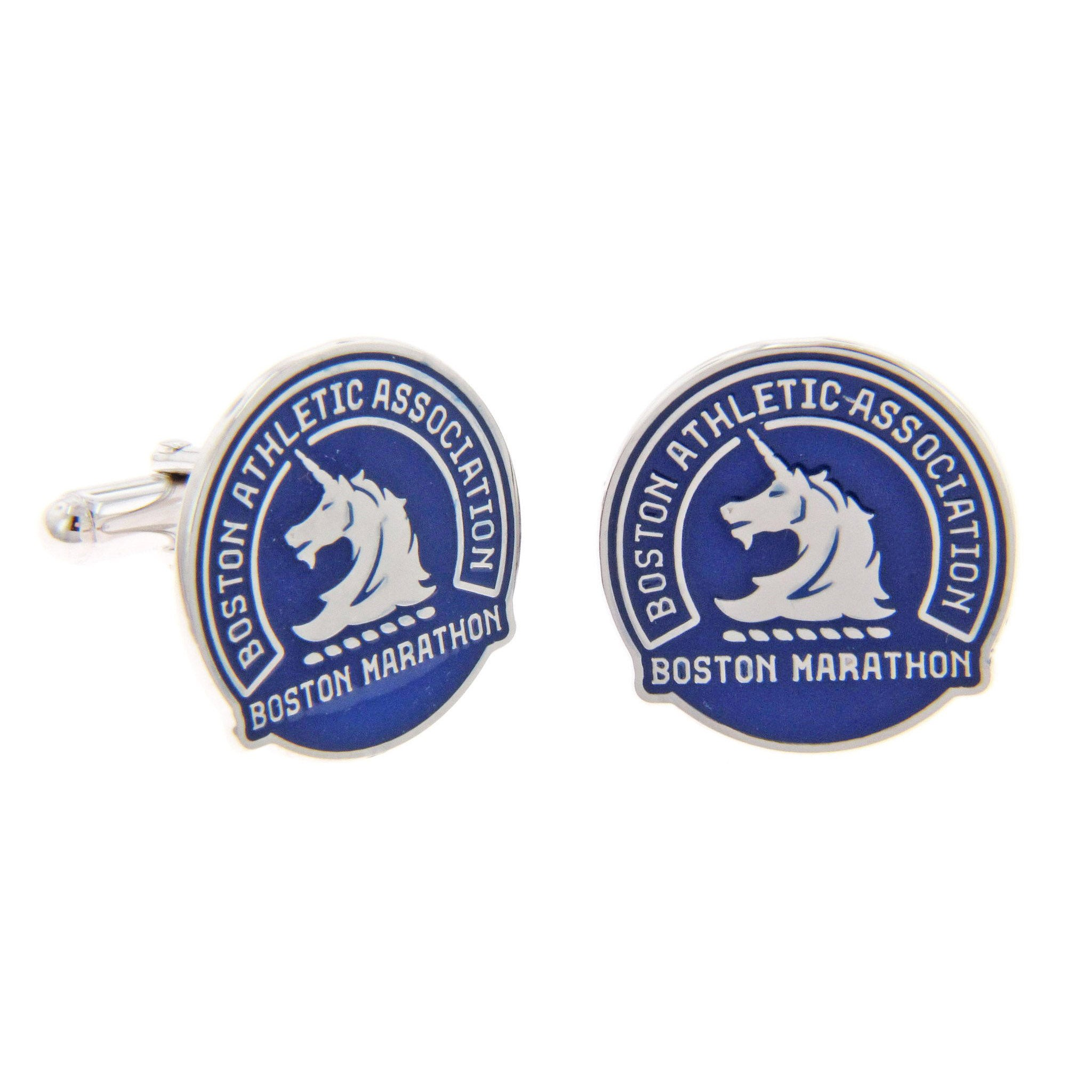 Boston Marathon® Sterling Silver & Blue Cuff Links with Stylized Unicorn Logo
