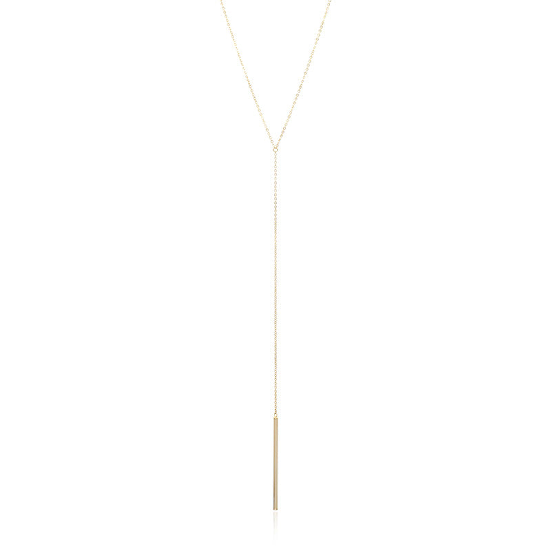 14K Yellow Gold Bar Drop Necklace
