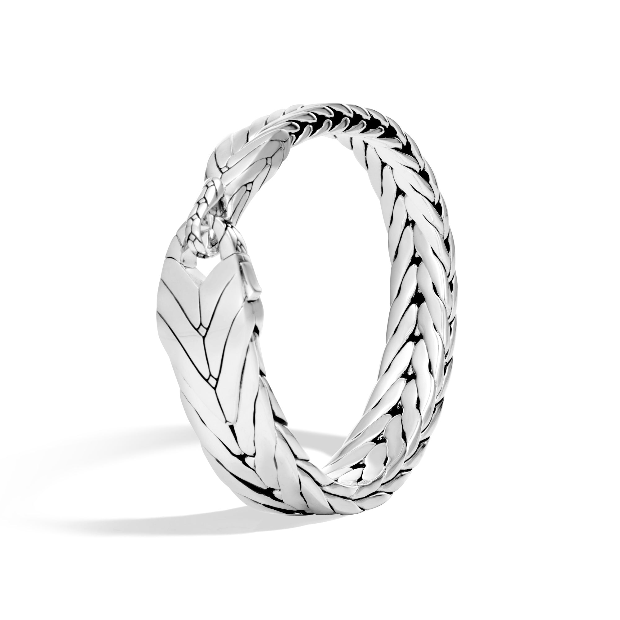 Modern Chain Silver Bracelet with Hook Clasp