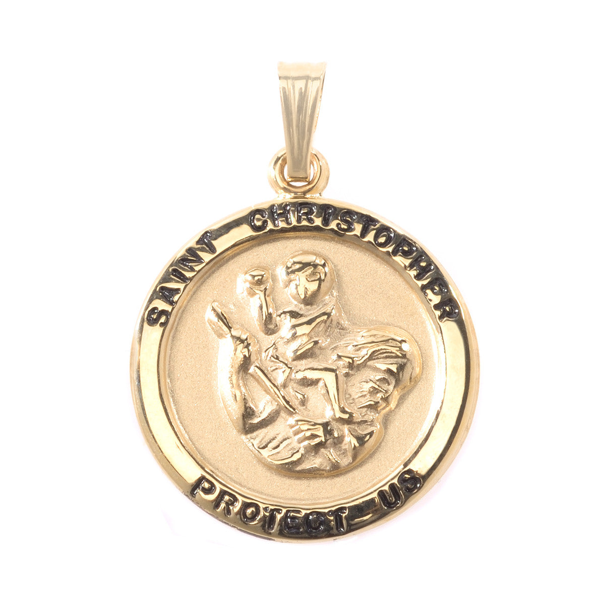 14K Yellow Gold Round St. Christopher Pendant