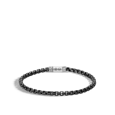 Classic Chain Silver Box Chain Bracelet with Pusher Clasp