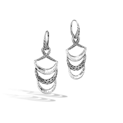Classic Chain Arch Hammered Silver Drop Earrings