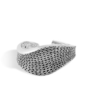 Classic Chain Wave Silver Large Kick Cuff
