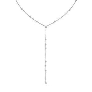 18K White Gold Lariat Diamond Necklace