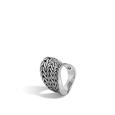 Classic Chain Wave Silver Saddle Ring
