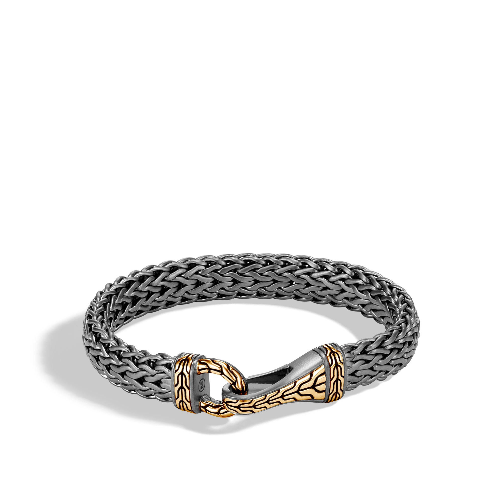 Classic Chain 18K Yellow Gold & Silver Matte Black Rhodium Flat Chain Bracelet with Hook Clasp