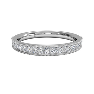 18K White Gold Diamond Milgrain Wedding Band