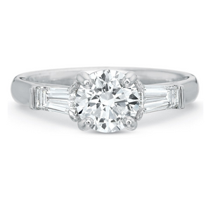 Platinum New Flush Fit Three-Stone Engagement Ring Setting with Tapered Baguette Sides
