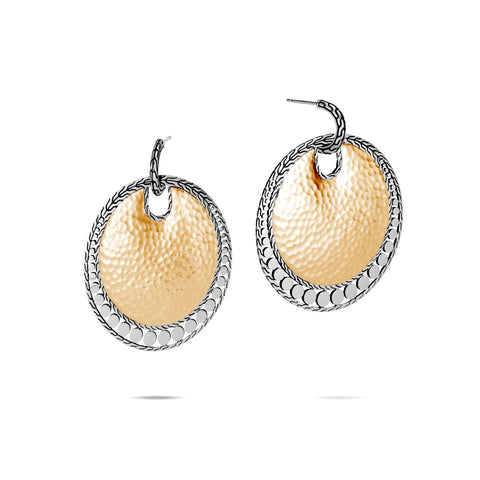 Dot Hammered 18K Gold & Silver Round Drop Earrings