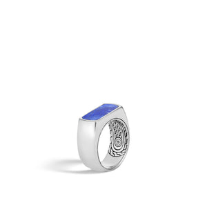 Classic Chain Silver Ring with Lapis Lazuli