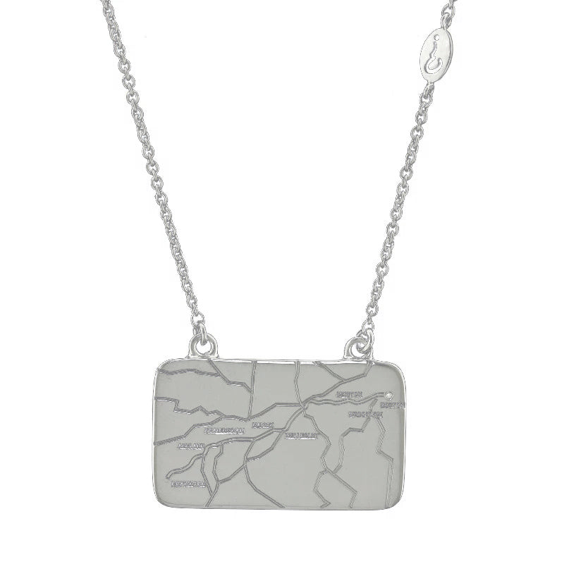 Sterling Silver Boston Marathon® Route Map Necklace