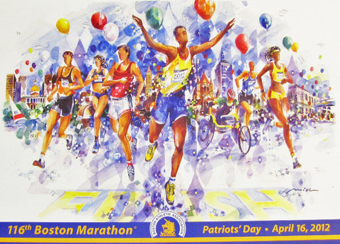 "The Official 2012 Boston Marathon® Limited Edition Framed Lithograph - Misha Lenn's ""Joy of the Finish"""