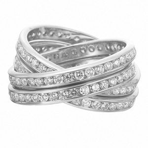 18K White Gold Four Row Diamond Rolling Ring