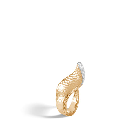 Classic Chain Wave Hammered 18K Gold Diamond Pave Ring