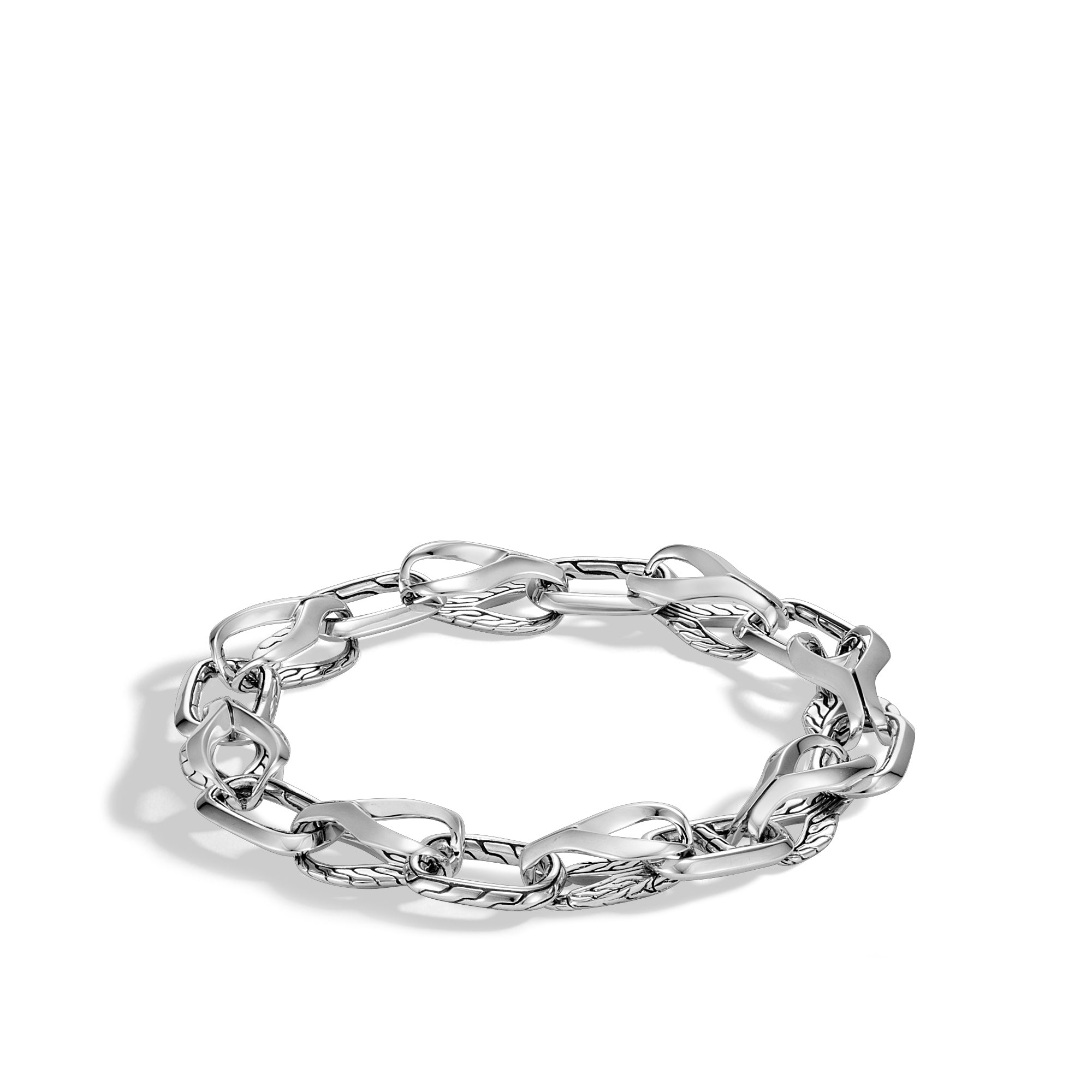 Asli Classic Chain Link Silver Link Bracelet with Hook Clasp