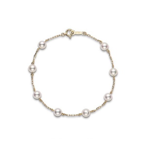 18K Yellow Gold Akoya Cultured Pearl Station Bracelet