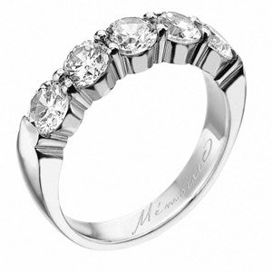 Platinum Pétite Prong® Five Stone Diamond Band 1.50 CTW