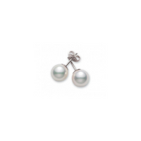 Mikimoto 18K White Gold Pearl Stud Earrings