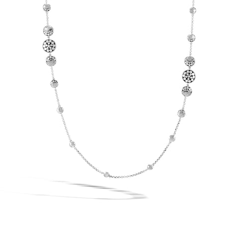 Dot Moon Phase Hammered Silver Station Necklace
