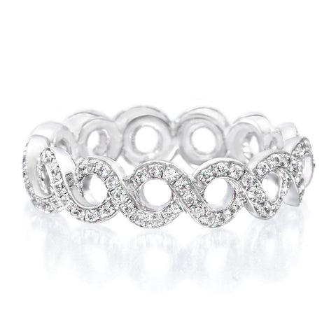 Platinum Vine Motif Diamond Eternity Band