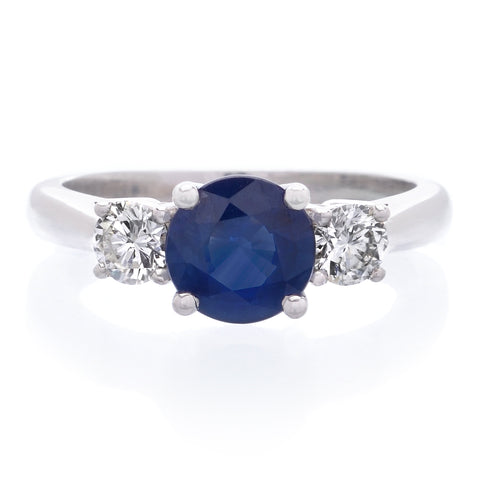 18K White Gold Sapphire and Diamond Three Stone Engagement Ring