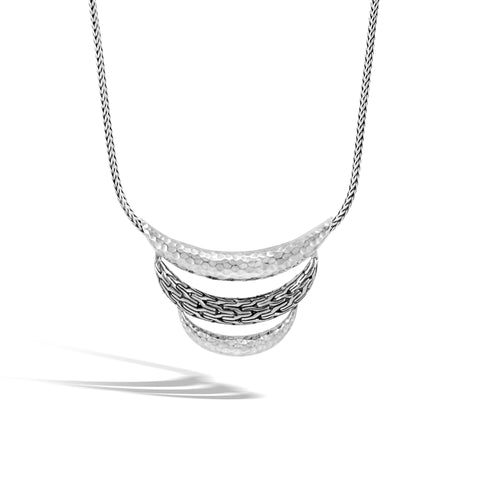 Classic Chain Arch Hammered Silver Small Bib Necklace