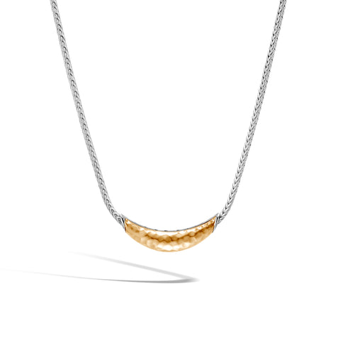 Classic Chain Arch Hammered 18K Gold and Silver Necklace