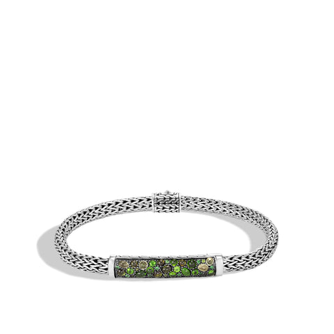 Classic Chain Silver Extra-Small Multi-Colored Stone Bracelet with Pusher Clasp