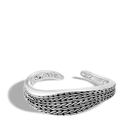 Classic Chain Wave Silver Medium Kick Cuff