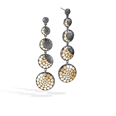 Dot Moon Phase Hammered 18K Gold & Silver Black Rhodium Drop Earrings