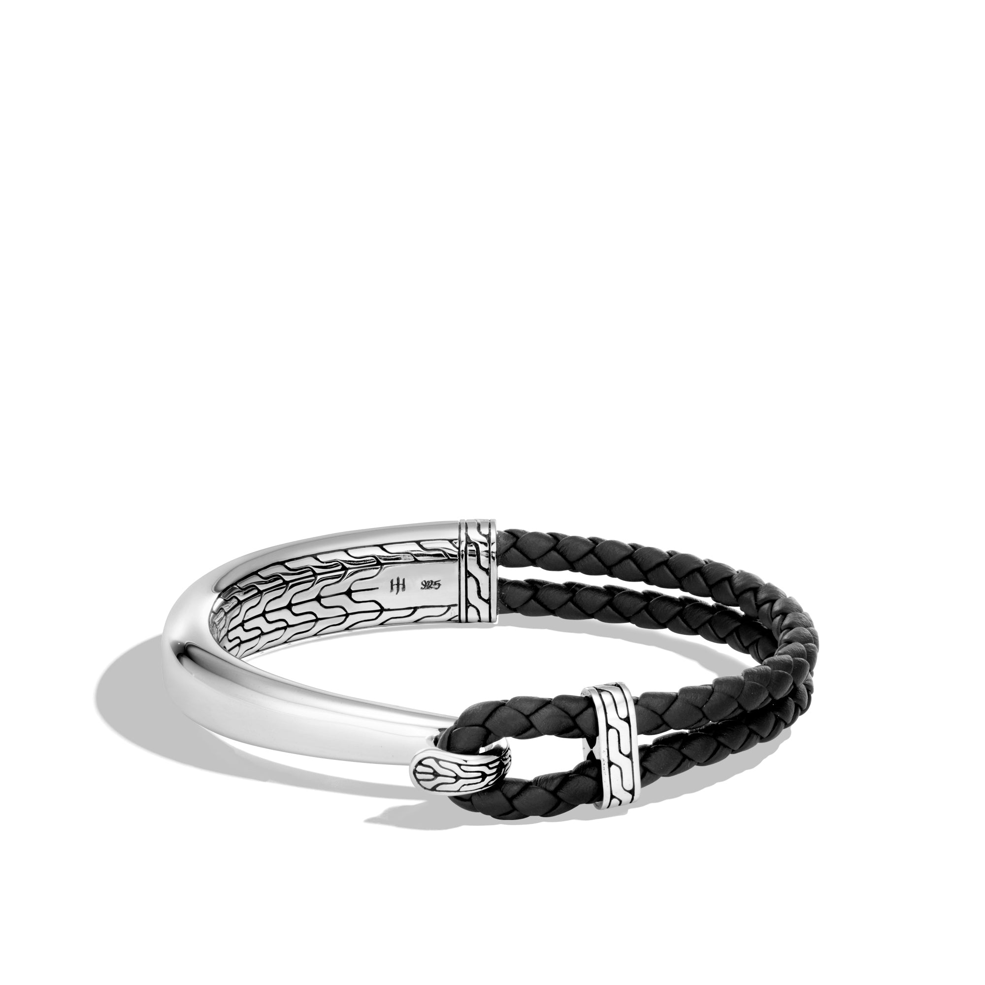 Classic Chain Silver Half Cuff Bracelet on Black Woven Leather with Hook Clasp