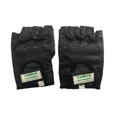 Cassius Black Leather Weight Lifting Gloves