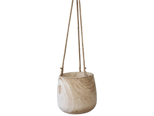Hanging Wood Pot Natural