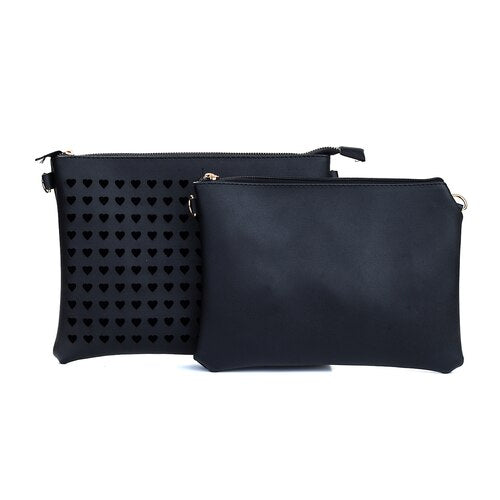 New Large Heart Clutch - Black