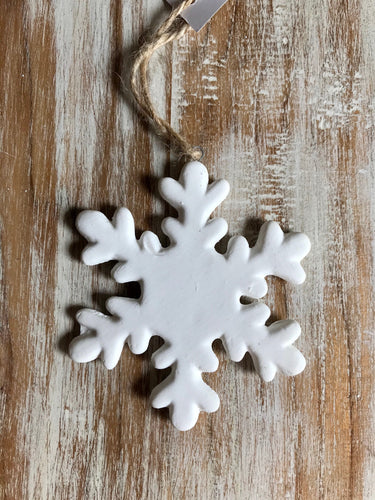 White Hanging Snow Flake Ceramic Ornaments