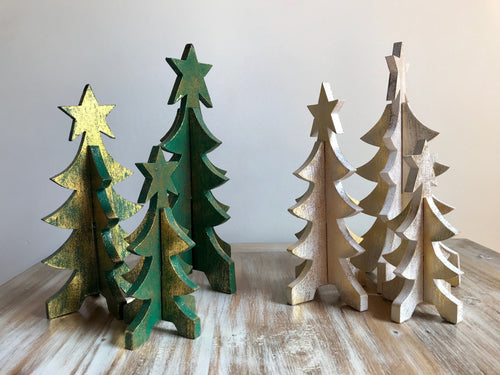 Wooden Christmas - Small Trees set of 3