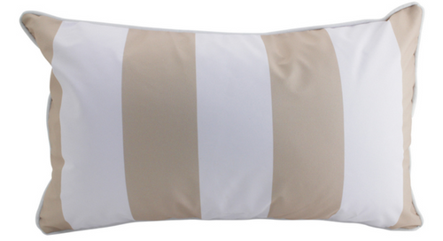 Lattee & White Stripped Outdoor Pillow