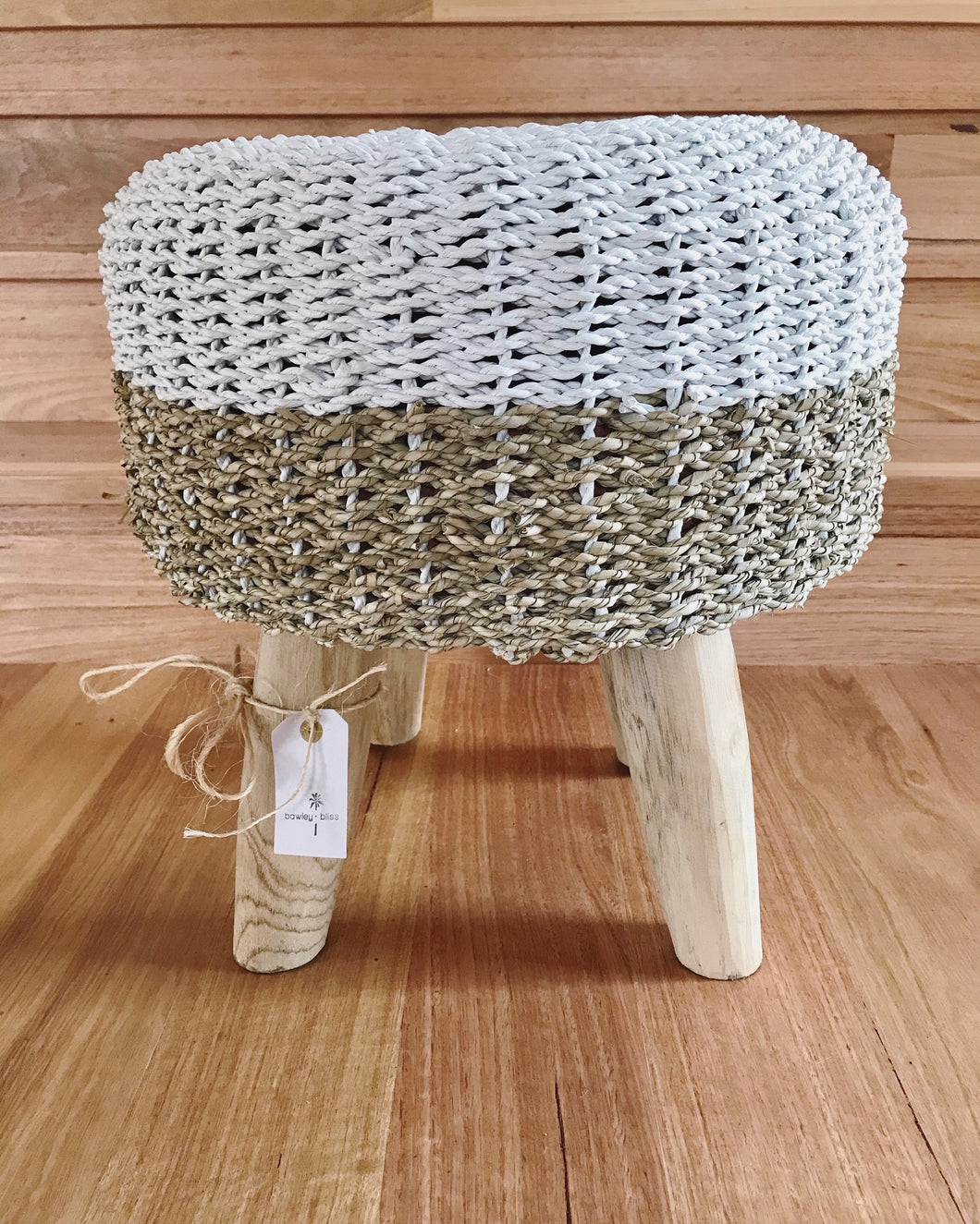 Gannet Beach White/Natural Stool